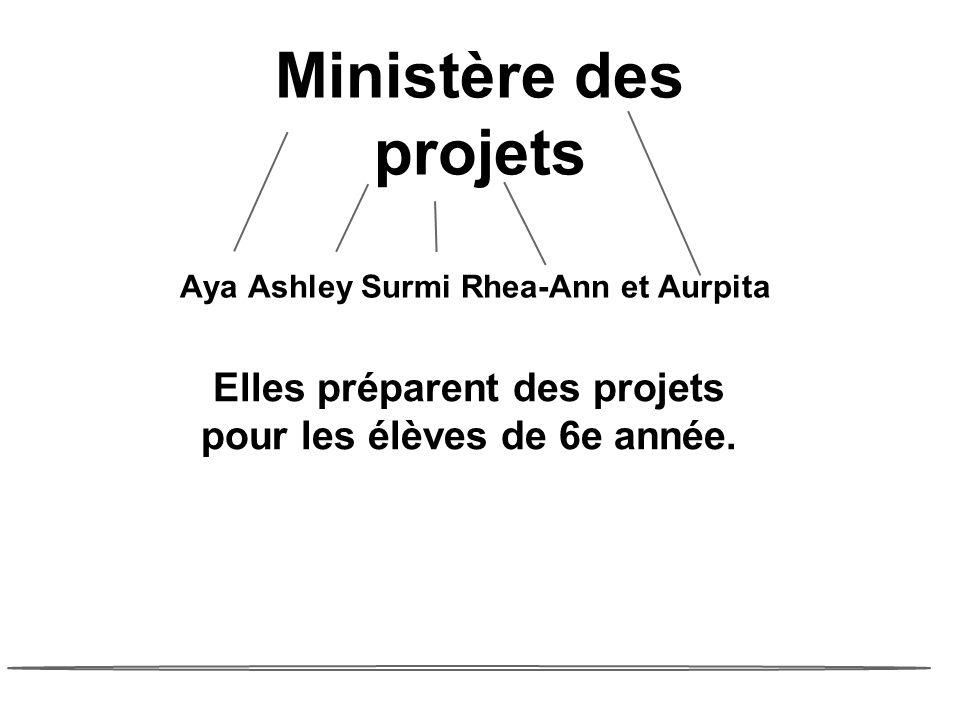Ministère des projets Aya Ashley Surmi Rhea-Ann et Aurpita Elles préparent des projets pour les élèves de 6e année.