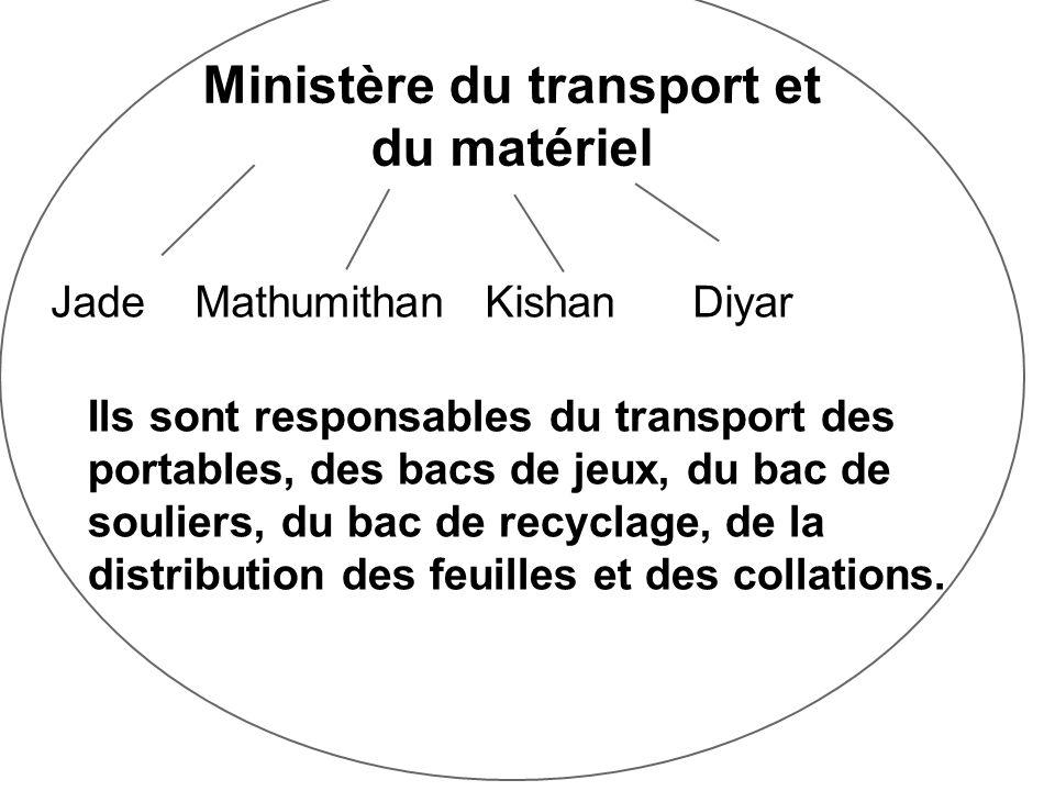 Ministère du transport et du matériel Jade Mathumithan Kishan Diyar Ils sont responsables du transport des portables, des bacs de jeux, du bac de souliers, du bac de recyclage, de la distribution des feuilles et des collations.