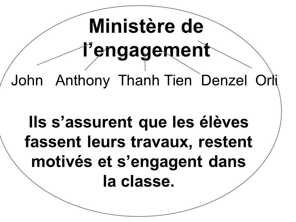 Ministère de lengagement John Anthony Thanh Tien Denzel Orli Ils sassurent que les élèves fassent leurs travaux, restent motivés et sengagent dans la classe.