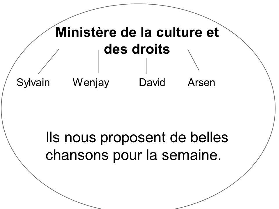 Ministère de la culture et des droits Sylvain Wenjay David Arsen Ils nous proposent de belles chansons pour la semaine.