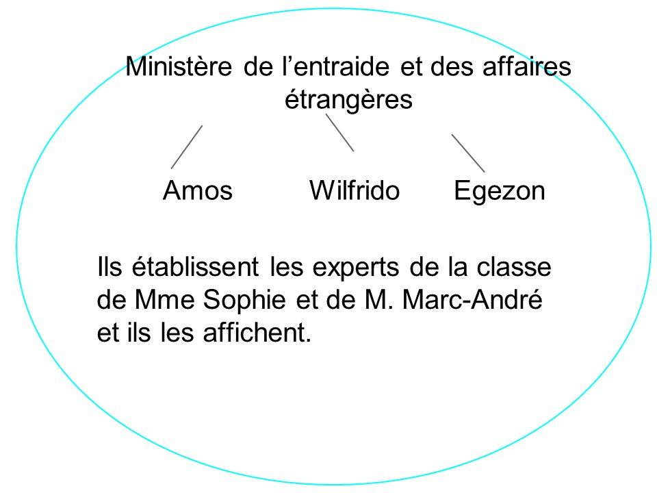 Ministère de entraide et affaire étrangère Ministère de lentraide et des affaires étrangères Amos Wilfrido Egezon Ils établissent les experts de la classe de Mme Sophie et de M.