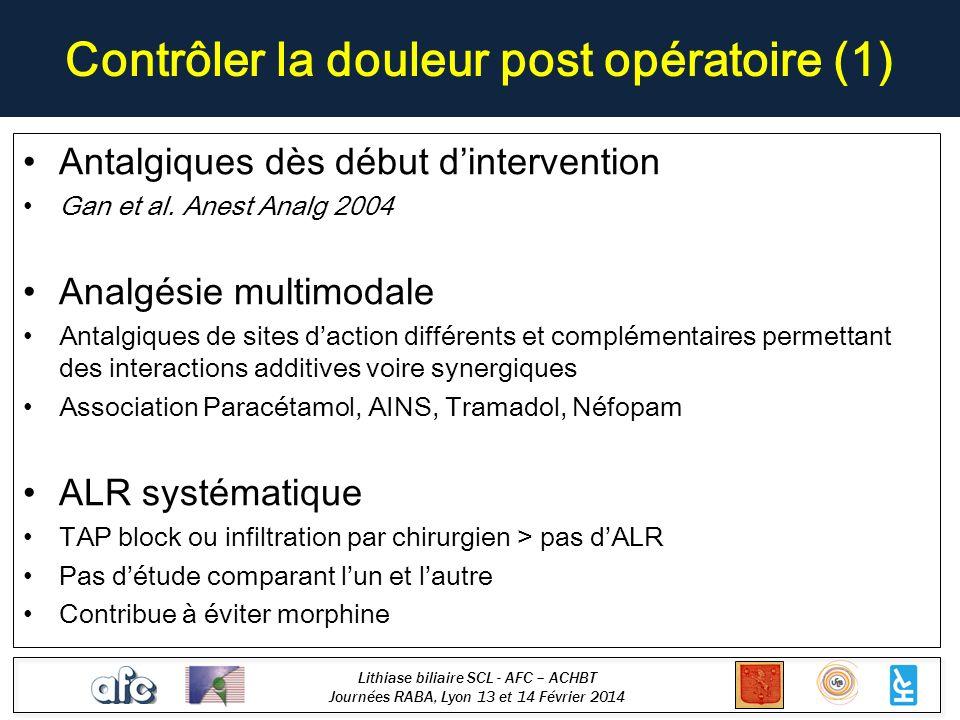 Lithiase biliaire SCL - AFC – ACHBT Journées RABA, Lyon 13 et 14 Février 2014 Contrôler la douleur post opératoire (1) Antalgiques dès début dinterven