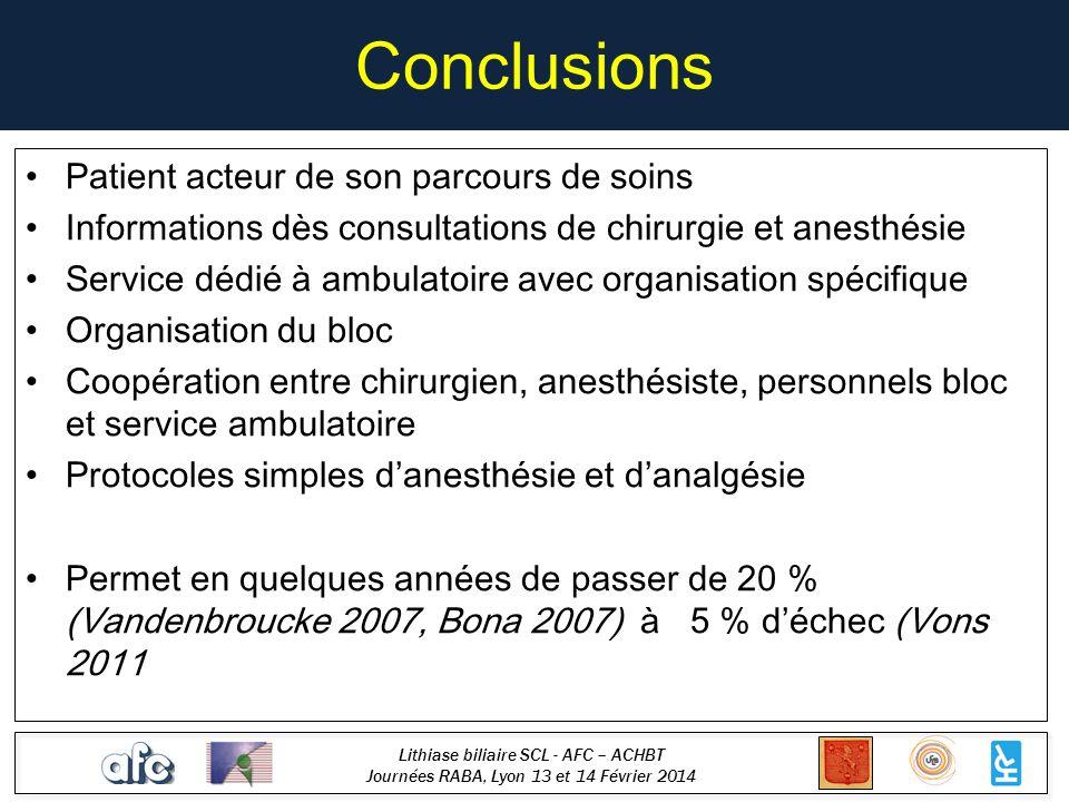 Lithiase biliaire SCL - AFC – ACHBT Journées RABA, Lyon 13 et 14 Février 2014 Conclusions Patient acteur de son parcours de soins Informations dès con