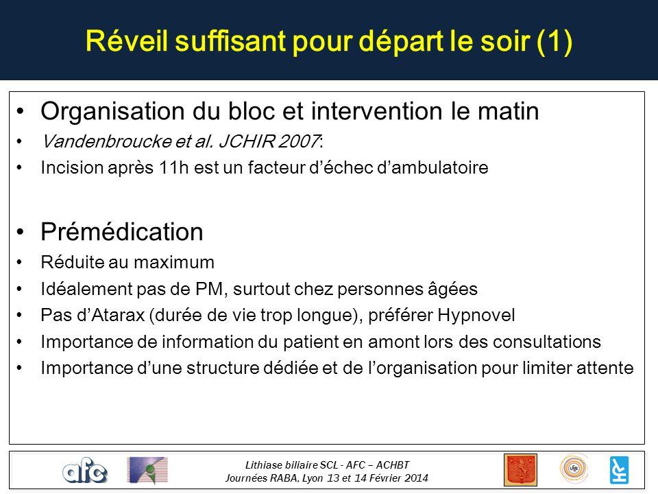 Lithiase biliaire SCL - AFC – ACHBT Journées RABA, Lyon 13 et 14 Février 2014 Conclusions Validée recommandations grade A (SFCD, ACHBT) 2/3 patients éligibles à lambulatoire Intervention à faire avant 12H00 Échec de 4% à 18% selon les séries Anesthésie ambulatoire+++ – prévention douleurs et NVPO GOLD STANDARD
