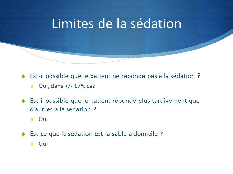 Limites de la sédation Est-il possible que le patient ne réponde pas à la sédation ? Oui, dans +/- 17% cas Est-il possible que le patient réponde plus