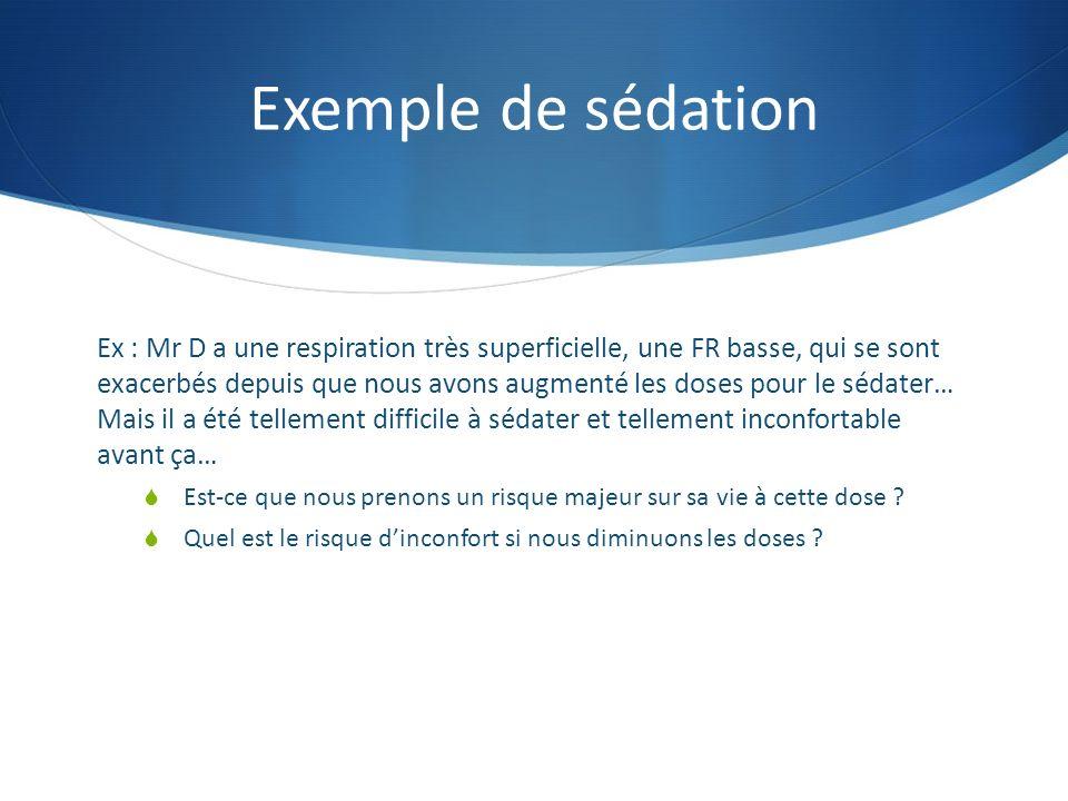 Exemple de sédation Ex : Mr D a une respiration très superficielle, une FR basse, qui se sont exacerbés depuis que nous avons augmenté les doses pour