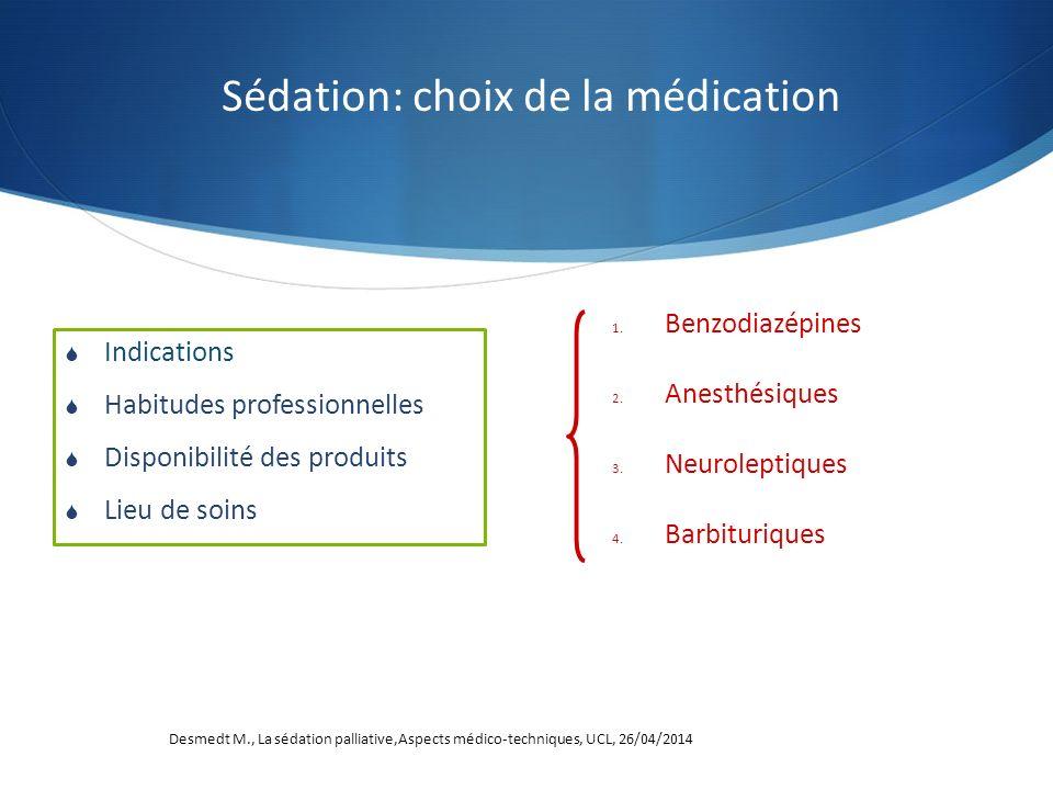 Sédation: choix de la médication Indications Habitudes professionnelles Disponibilité des produits Lieu de soins 1. Benzodiazépines 2. Anesthésiques 3