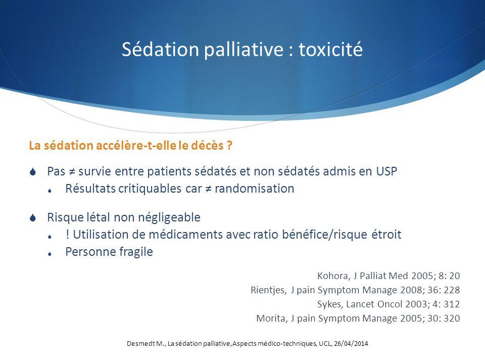 La sédation accélère-t-elle le décès ? Pas survie entre patients sédatés et non sédatés admis en USP Résultats critiquables car randomisation Risque l
