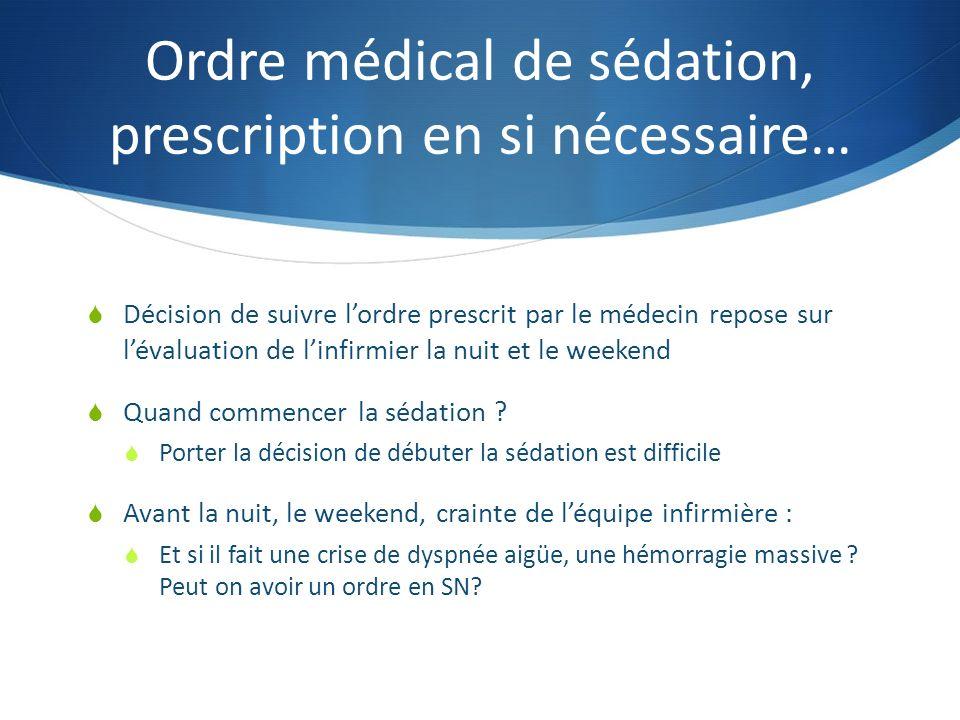 Ordre médical de sédation, prescription en si nécessaire… Décision de suivre lordre prescrit par le médecin repose sur lévaluation de linfirmier la nuit et le weekend Quand commencer la sédation .
