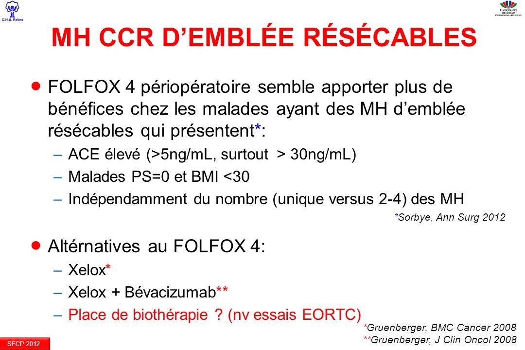 MH CCR DEMBLÉE RÉSÉCABLES FOLFOX 4 périopératoire semble apporter plus de bénéfices chez les malades ayant des MH demblée résécables qui présentent*: