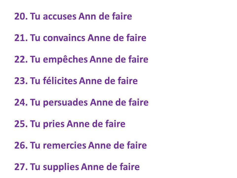 (with indirect objects) 28.Tu conseilles à Anne de faire 29.