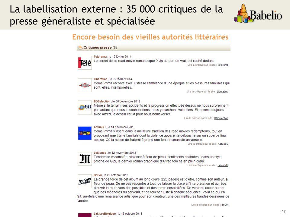 La labellisation externe : 35 000 critiques de la presse généraliste et spécialisée 10 Encore besoin des vieilles autorités littéraires