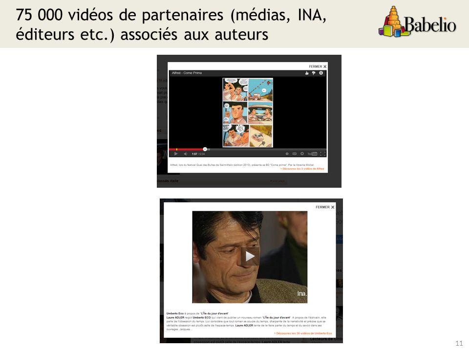 75 000 vidéos de partenaires (médias, INA, éditeurs etc.) associés aux auteurs 11
