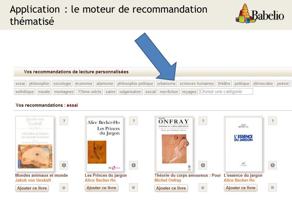 Application : le moteur de recommandation thématisé