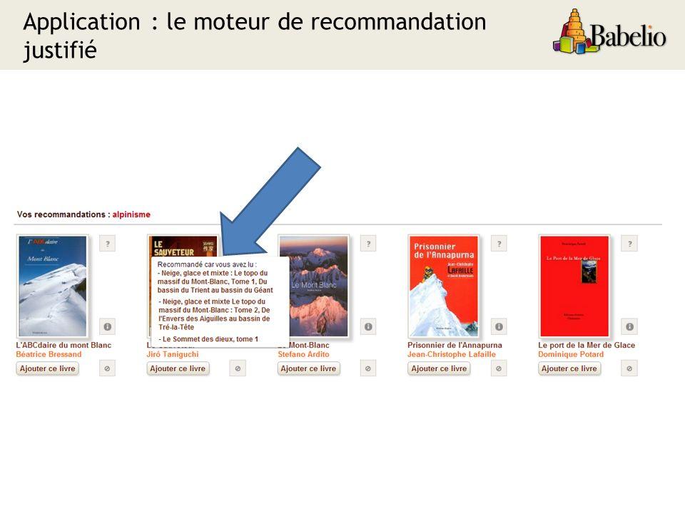 Application : le moteur de recommandation justifié