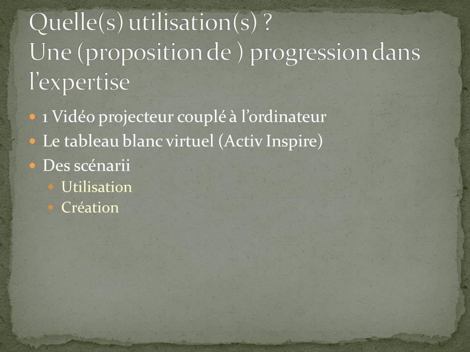 1 Vidéo projecteur couplé à lordinateur Le tableau blanc virtuel (Activ Inspire) Des scénarii Utilisation Création