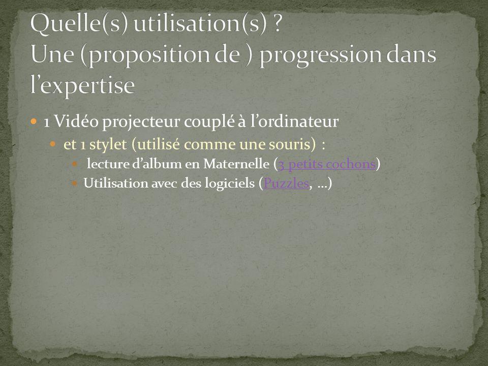 1 Vidéo projecteur couplé à lordinateur et 1 stylet (utilisé comme une souris) : lecture dalbum en Maternelle (3 petits cochons)3 petits cochons Utili