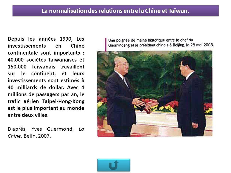 Depuis les années 1990, Les investissements en Chine continentale sont importants : 40.000 sociétés taïwanaises et 150.000 Taïwanais travaillent sur le continent, et leurs investissements sont estimés à 40 milliards de dollar.