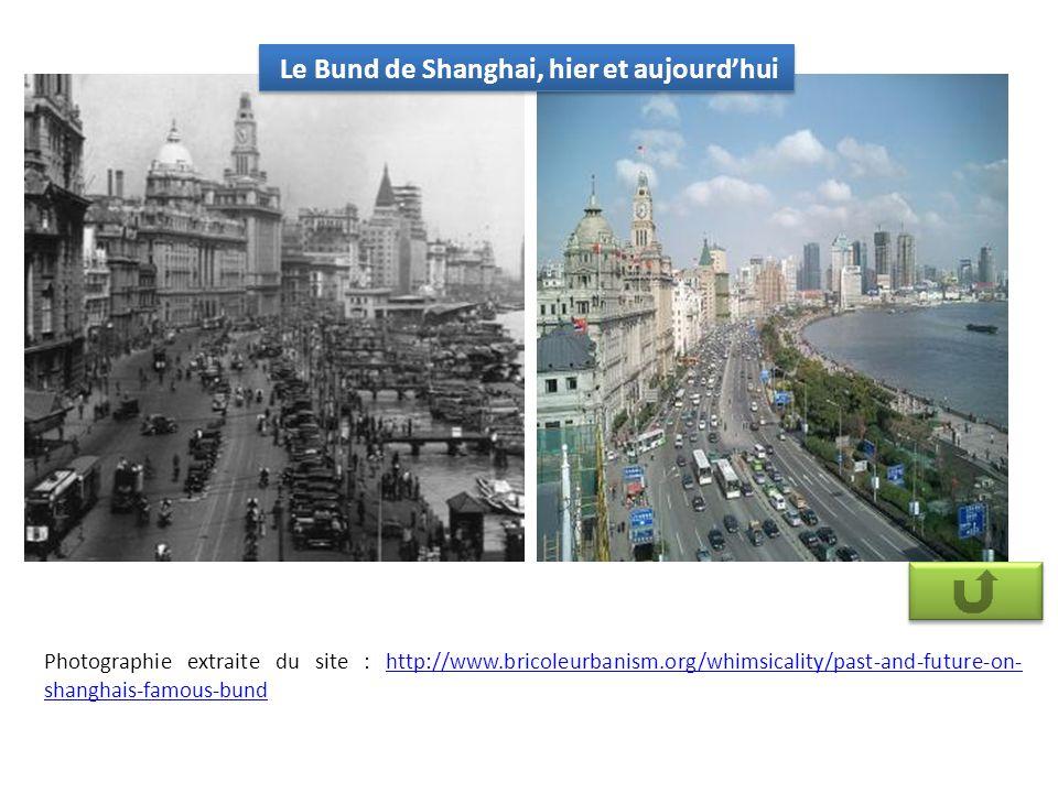 Le Bund de Shanghai, hier et aujourdhui Photographie extraite du site : http://www.bricoleurbanism.org/whimsicality/past-and-future-on- shanghais-famous-bundhttp://www.bricoleurbanism.org/whimsicality/past-and-future-on- shanghais-famous-bund