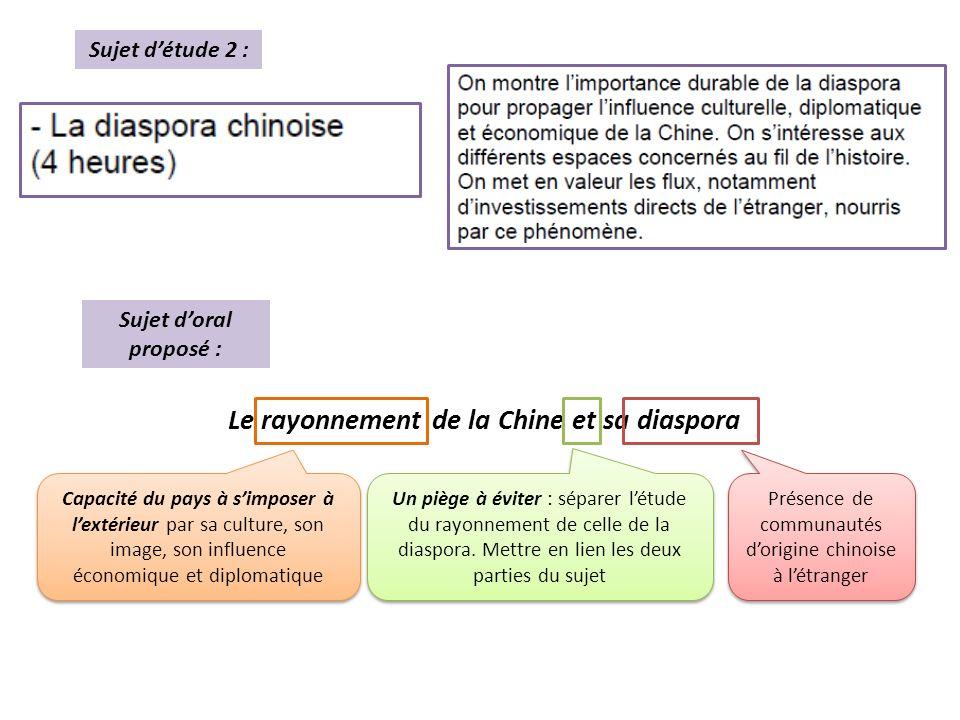 Sujet doral proposé : Le rayonnement de la Chine et sa diaspora Sujet détude 2 : Un piège à éviter : séparer létude du rayonnement de celle de la diaspora.
