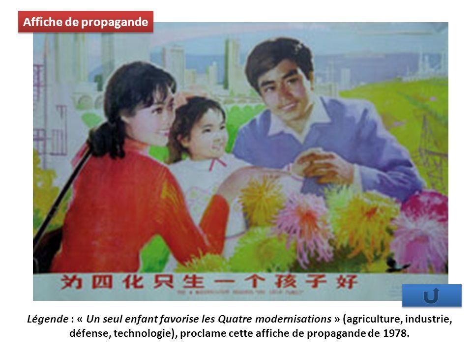 Légende : « Un seul enfant favorise les Quatre modernisations » (agriculture, industrie, défense, technologie), proclame cette affiche de propagande de 1978.