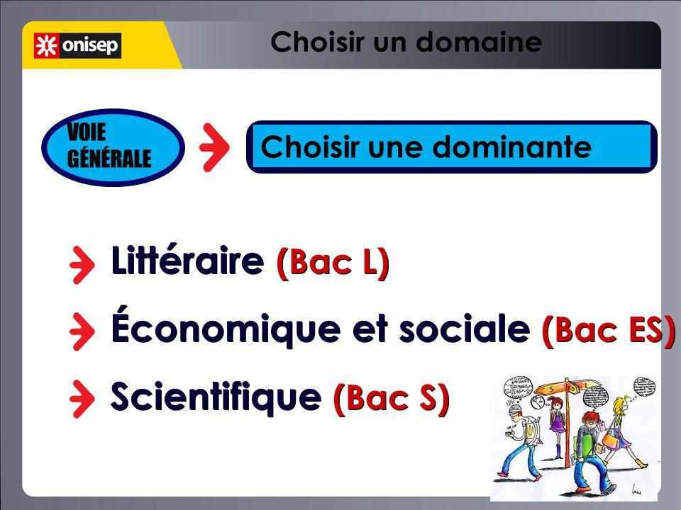 Choisir une dominante Littéraire (Bac L) Économique et sociale (Bac ES) Scientifique (Bac S) Littéraire (Bac L) Économique et sociale (Bac ES) Scienti