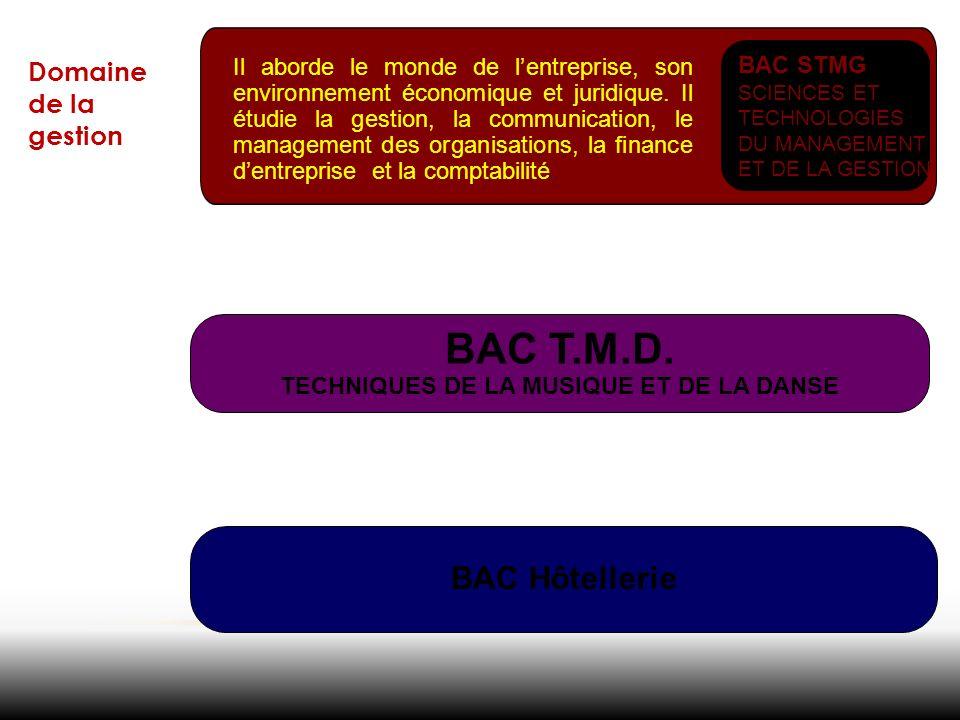 Domaine de la gestion Il aborde le monde de lentreprise, son environnement économique et juridique. Il étudie la gestion, la communication, le managem