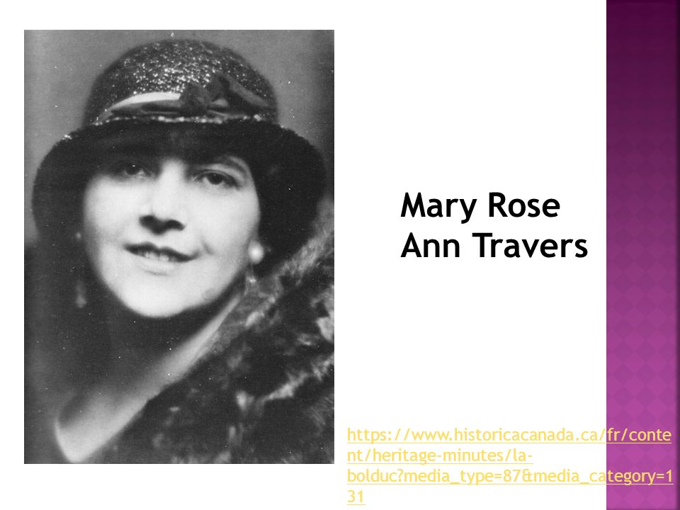 Mary Rose Ann Travers https://www.historicacanada.ca/fr/conte nt/heritage-minutes/la- bolduc?media_type=87&media_category=1 31
