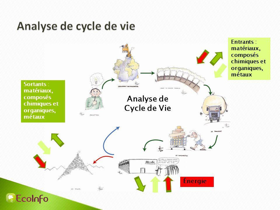Analyse de Cycle de Vie Sortants : matériaux, composés chimiques et organiques, métaux Entrants : matériaux, composés chimiques et organiques, métaux