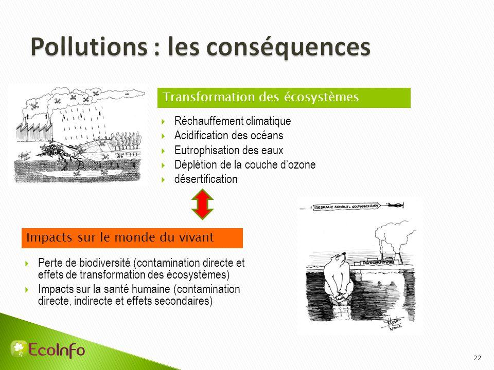 22 Réchauffement climatique Acidification des océans Eutrophisation des eaux Déplétion de la couche dozone désertification Transformation des écosystè