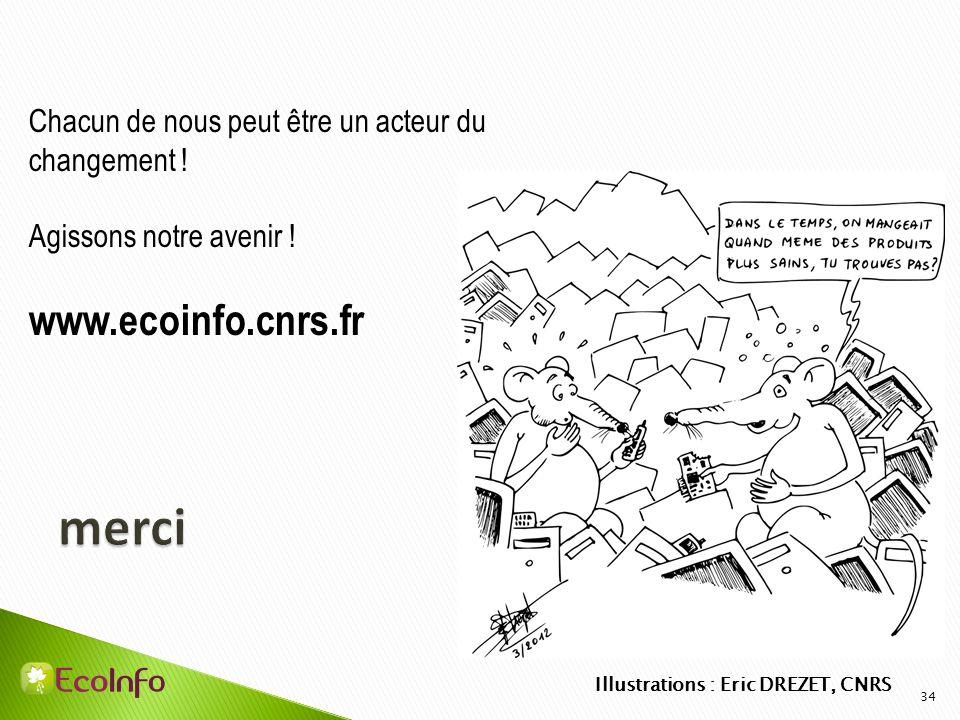 34 Chacun de nous peut être un acteur du changement ! Agissons notre avenir ! www.ecoinfo.cnrs.fr Illustrations : Eric DREZET, CNRS