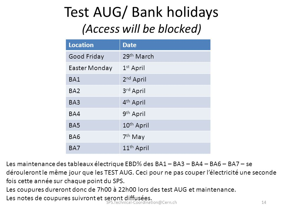Test AUG/ Bank holidays (Access will be blocked) LocationDate Good Friday29 th March Easter Monday1 st April BA12 nd April BA23 rd April BA34 th April
