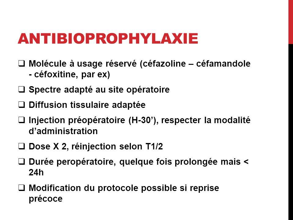 ANTIBIOPROPHYLAXIE Molécule à usage réservé (céfazoline – céfamandole - céfoxitine, par ex) Spectre adapté au site opératoire Diffusion tissulaire adaptée Injection préopératoire (H-30), respecter la modalité dadministration Dose X 2, réinjection selon T1/2 Durée peropératoire, quelque fois prolongée mais < 24h Modification du protocole possible si reprise précoce