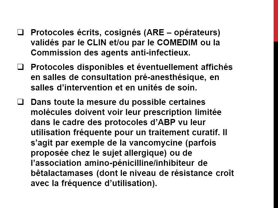Protocoles écrits, cosignés (ARE – opérateurs) validés par le CLIN et/ou par le COMEDIM ou la Commission des agents anti-infectieux.