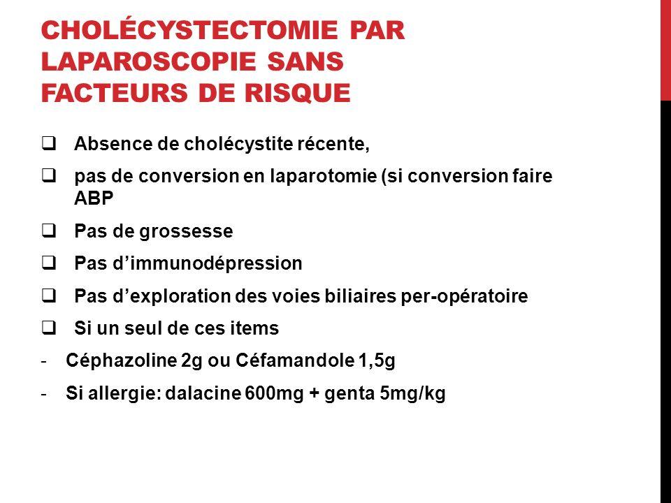 CHOLÉCYSTECTOMIE PAR LAPAROSCOPIE SANS FACTEURS DE RISQUE Absence de cholécystite récente, pas de conversion en laparotomie (si conversion faire ABP Pas de grossesse Pas dimmunodépression Pas dexploration des voies biliaires per-opératoire Si un seul de ces items -Céphazoline 2g ou Céfamandole 1,5g -Si allergie: dalacine 600mg + genta 5mg/kg