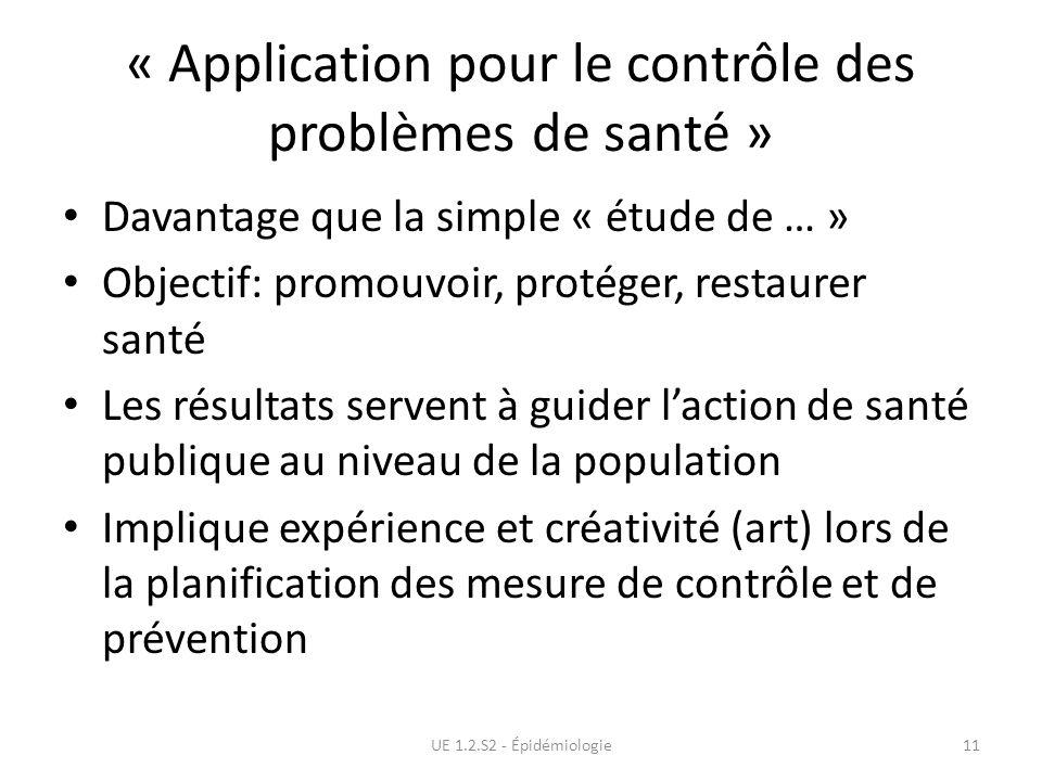 « Application pour le contrôle des problèmes de santé » Davantage que la simple « étude de … » Objectif: promouvoir, protéger, restaurer santé Les rés