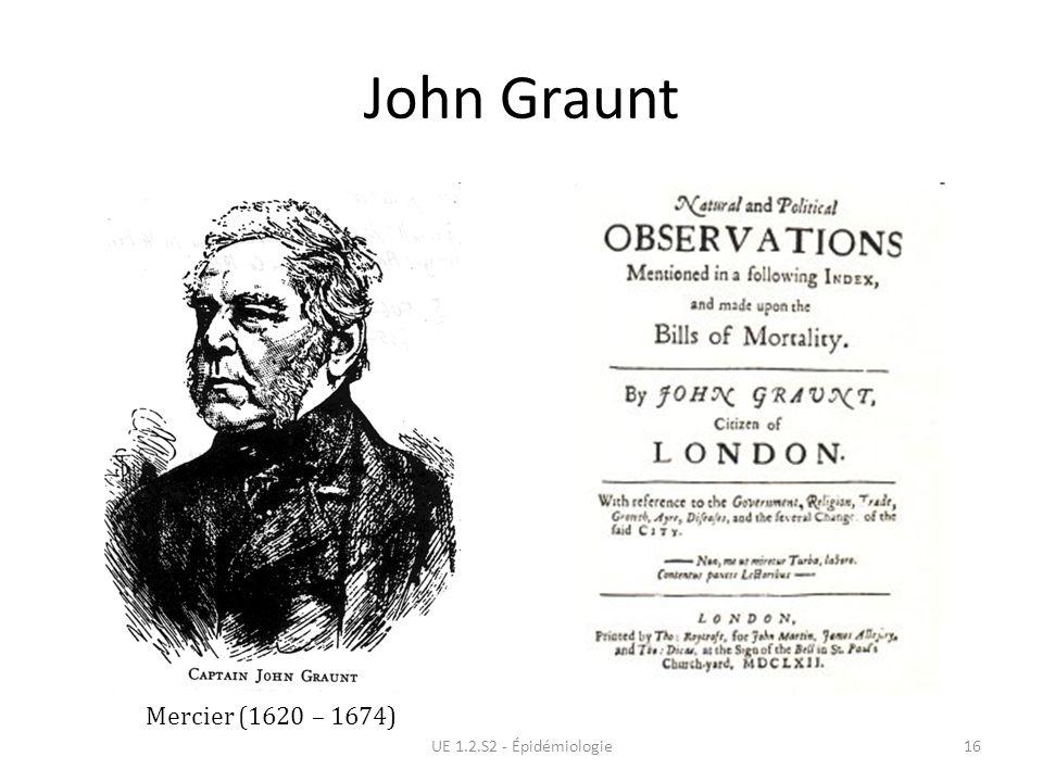 John Graunt UE 1.2.S2 - Épidémiologie16 Mercier (1620 – 1674)