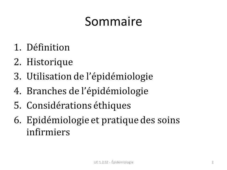 Sommaire 1.Définition 2.Historique 3.Utilisation de lépidémiologie 4.Branches de lépidémiologie 5.Considérations éthiques 6.Epidémiologie et pratique