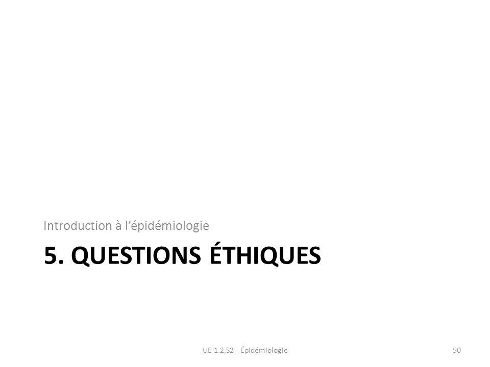 5. QUESTIONS ÉTHIQUES Introduction à lépidémiologie UE 1.2.S2 - Épidémiologie50