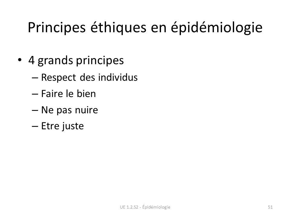 Principes éthiques en épidémiologie 4 grands principes – Respect des individus – Faire le bien – Ne pas nuire – Etre juste UE 1.2.S2 - Épidémiologie51