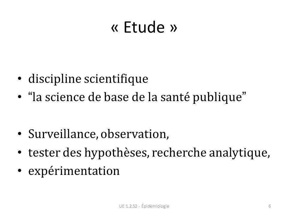 « Etude » discipline scientifique la science de base de la santé publique Surveillance, observation, tester des hypothèses, recherche analytique, expé