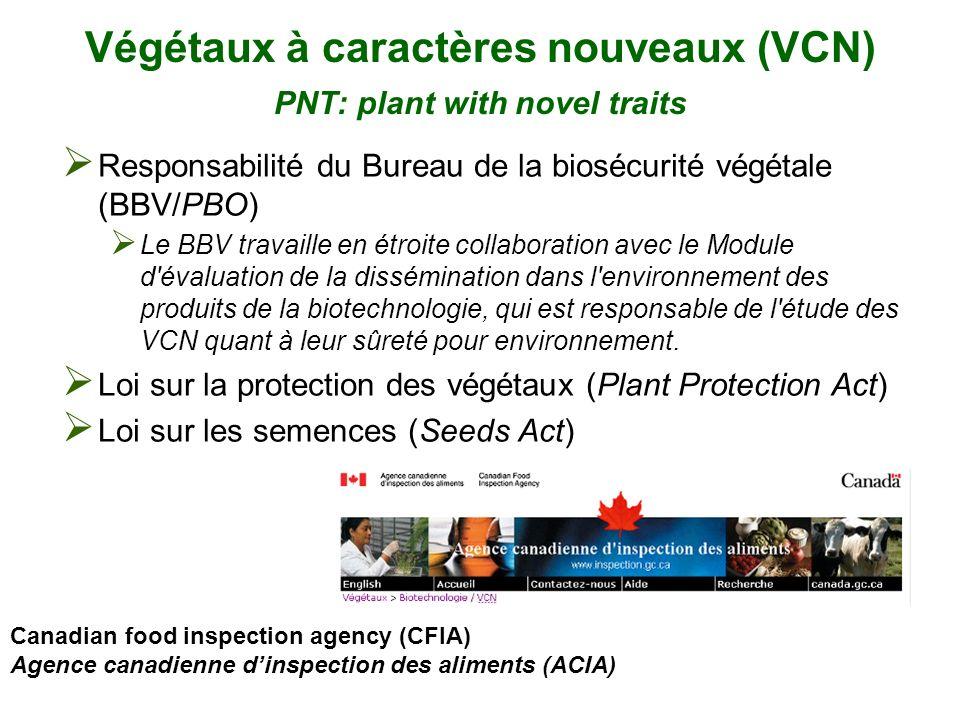 Végétaux à caractères nouveaux (VCN) PNT: plant with novel traits Responsabilité du Bureau de la biosécurité végétale (BBV/PBO) Le BBV travaille en ét