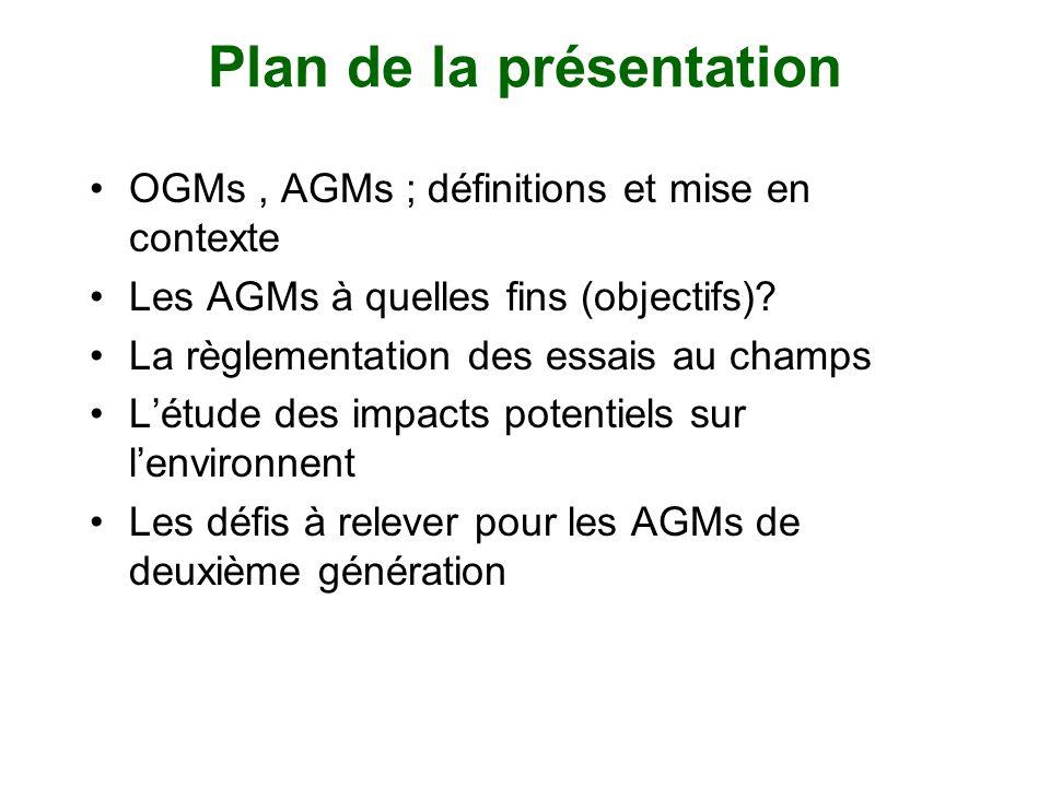 Plan de la présentation OGMs, AGMs ; définitions et mise en contexte Les AGMs à quelles fins (objectifs)? La règlementation des essais au champs Létud
