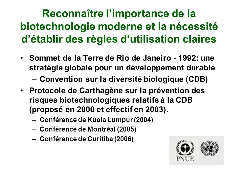 Reconnaître limportance de la biotechnologie moderne et la nécessité détablir des règles dutilisation claires Sommet de la Terre de Rio de Janeiro - 1