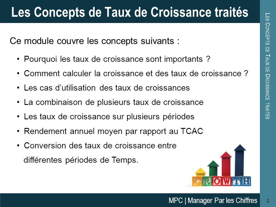 L A C ROISSANCE 3 La Croissance Définition Croissance ( ou unitaire) est juste le changement dune période t-1 par rapport à la période t.
