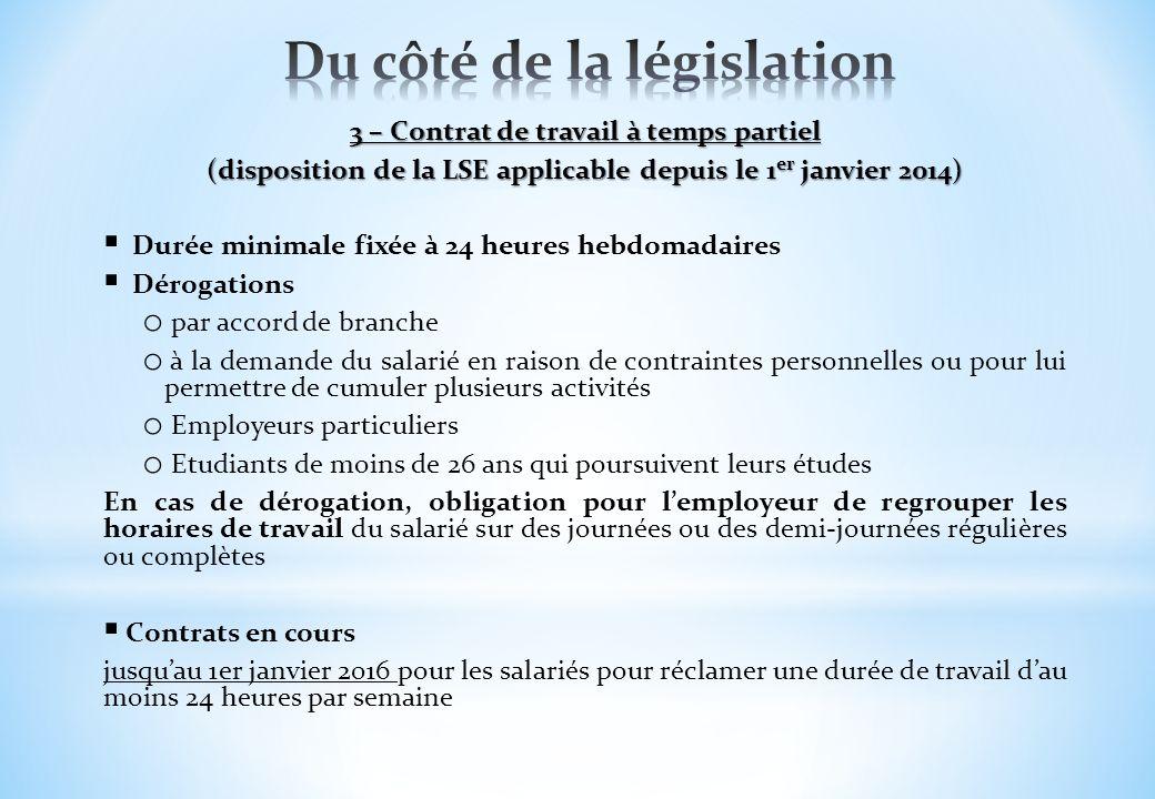 3 – Contrat de travail à temps partiel (disposition de la LSE applicable depuis le 1 er janvier 2014) Durée minimale fixée à 24 heures hebdomadaires D