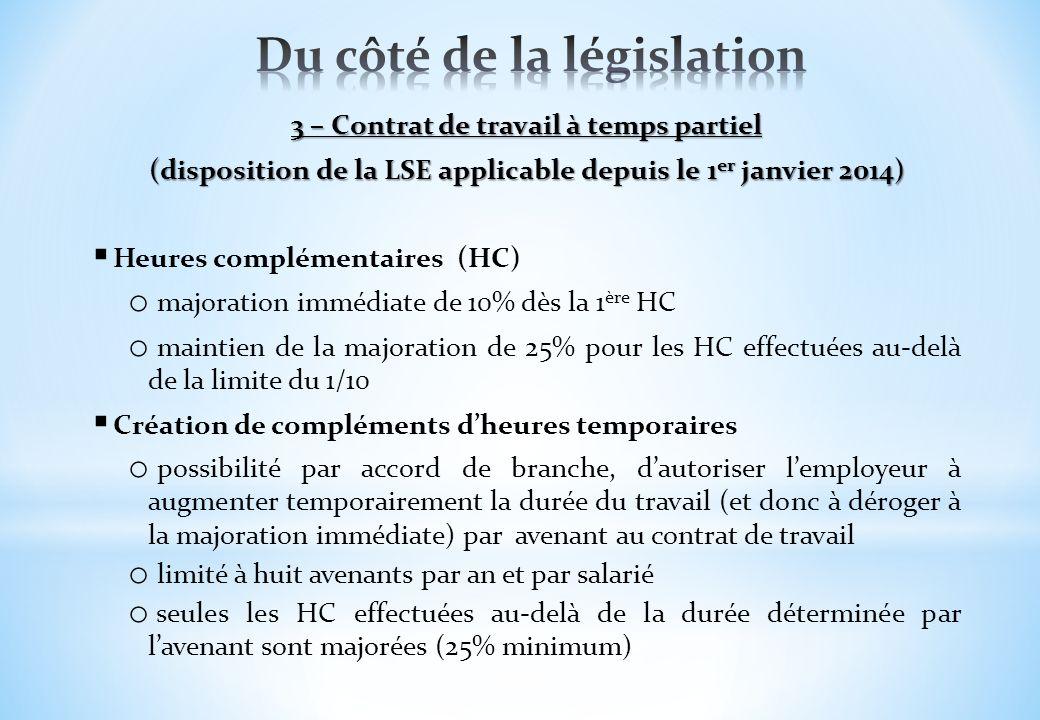 3 – Contrat de travail à temps partiel (disposition de la LSE applicable depuis le 1 er janvier 2014) Heures complémentaires (HC) o majoration immédia