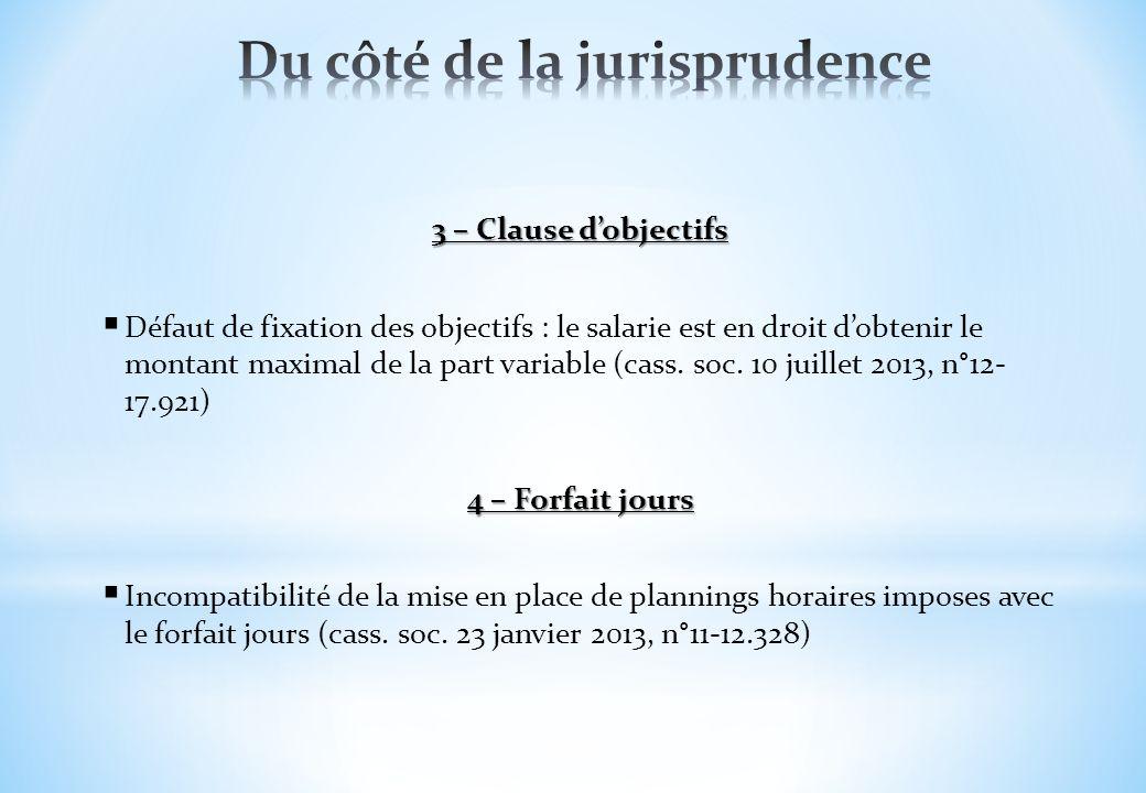 3 – Clause dobjectifs Défaut de fixation des objectifs : le salarie est en droit dobtenir le montant maximal de la part variable (cass. soc. 10 juille