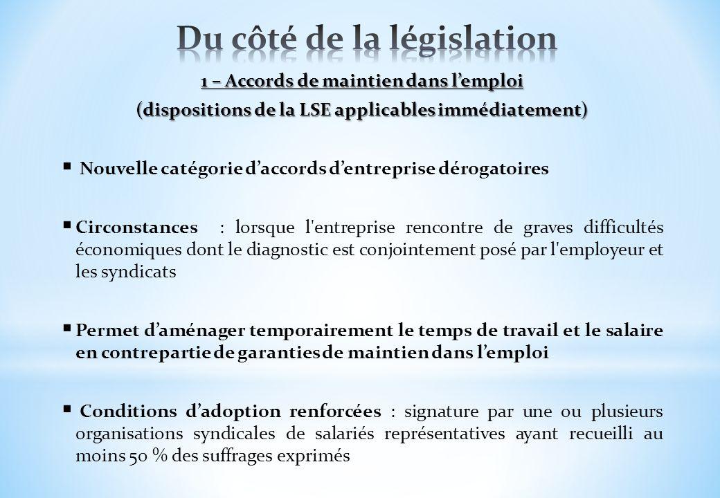 1 – Accords de maintien dans lemploi (dispositions de la LSE applicables immédiatement) Nouvelle catégorie daccords dentreprise dérogatoires Circonsta