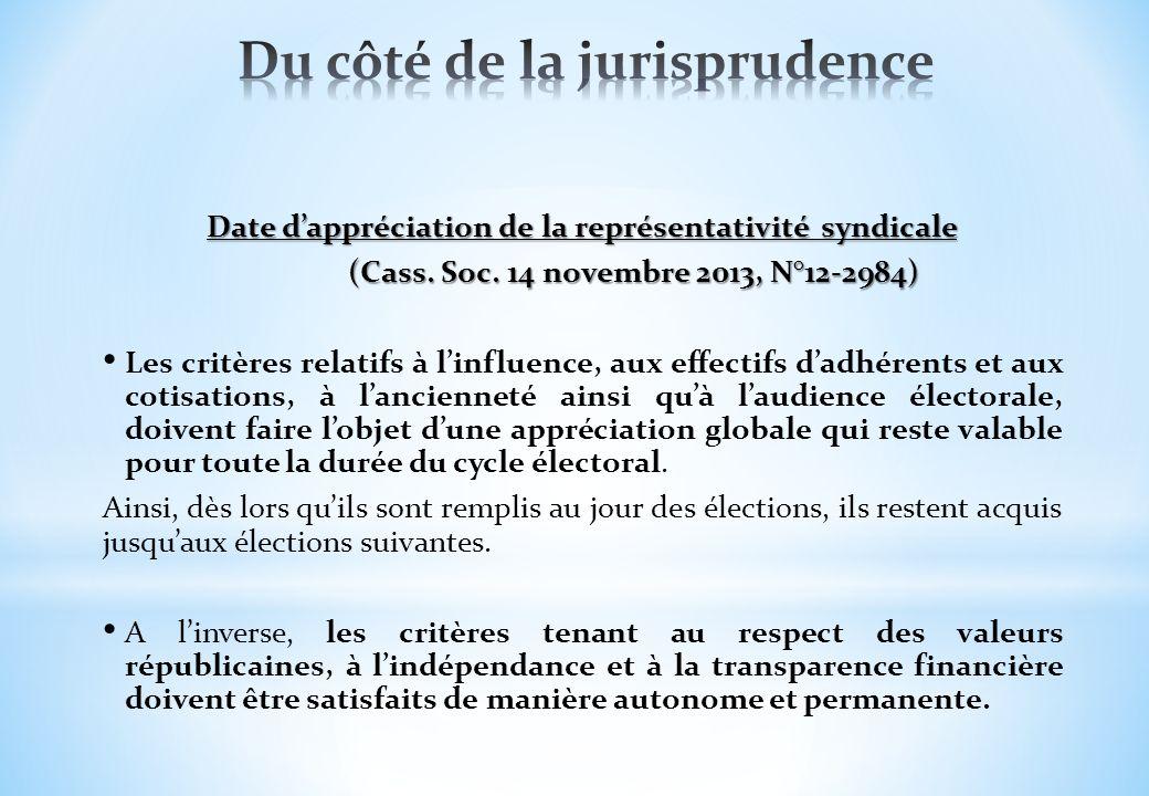 Date dappréciation de la représentativité syndicale (Cass. Soc. 14 novembre 2013, N°12-2984) Les critères relatifs à linfluence, aux effectifs dadhére